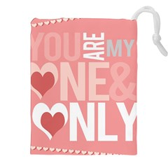 Valentines Day One Only Pink Heart Drawstring Pouches (xxl) by Alisyart
