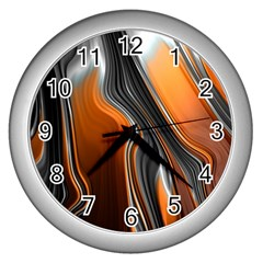 Fractal Structure Mathematic Wall Clocks (silver)  by Amaryn4rt