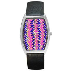 Triangle Pink Blue Barrel Style Metal Watch