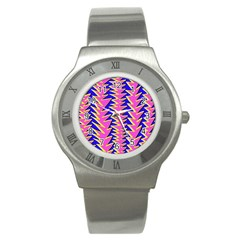 Triangle Pink Blue Stainless Steel Watch