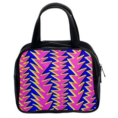 Triangle Pink Blue Classic Handbags (2 Sides) by Alisyart