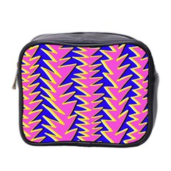 Triangle Pink Blue Mini Toiletries Bag 2 Side by Alisyart