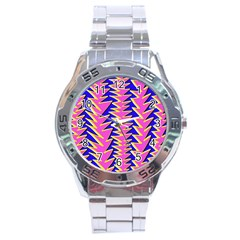 Triangle Pink Blue Stainless Steel Analogue Watch