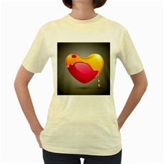 Valentine Heart Having Transparency Effect Pink Yellow Women s Yellow T Shirt