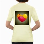 Valentine Heart Having Transparency Effect Pink Yellow Women s Yellow T-Shirt Back