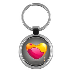 Valentine Heart Having Transparency Effect Pink Yellow Key Chains (round)  by Alisyart