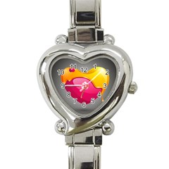 Valentine Heart Having Transparency Effect Pink Yellow Heart Italian Charm Watch