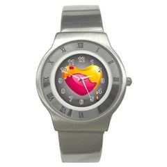 Valentine Heart Having Transparency Effect Pink Yellow Stainless Steel Watch by Alisyart