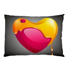 Valentine Heart Having Transparency Effect Pink Yellow Pillow Case