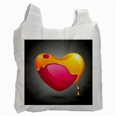 Valentine Heart Having Transparency Effect Pink Yellow Recycle Bag (two Side)