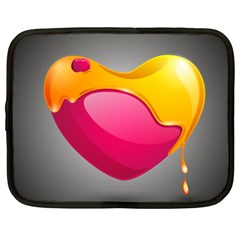 Valentine Heart Having Transparency Effect Pink Yellow Netbook Case (xxl)