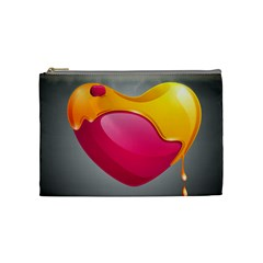 Valentine Heart Having Transparency Effect Pink Yellow Cosmetic Bag (medium)