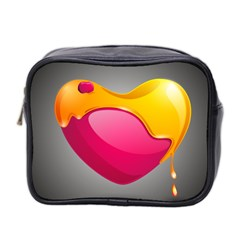 Valentine Heart Having Transparency Effect Pink Yellow Mini Toiletries Bag 2 Side