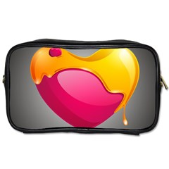 Valentine Heart Having Transparency Effect Pink Yellow Toiletries Bags