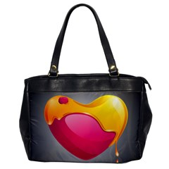 Valentine Heart Having Transparency Effect Pink Yellow Office Handbags