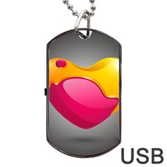 Valentine Heart Having Transparency Effect Pink Yellow Dog Tag Usb Flash (one Side)