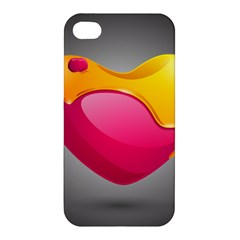 Valentine Heart Having Transparency Effect Pink Yellow Apple Iphone 4/4s Hardshell Case