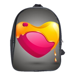 Valentine Heart Having Transparency Effect Pink Yellow School Bags (xl)