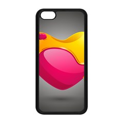 Valentine Heart Having Transparency Effect Pink Yellow Apple Iphone 5c Seamless Case (black) by Alisyart