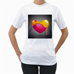 Valentine Heart Having Transparency Effect Pink Yellow Women s T Shirt (white)