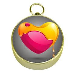Valentine Heart Having Transparency Effect Pink Yellow Gold Compasses