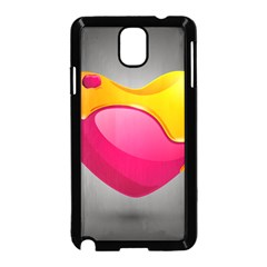 Valentine Heart Having Transparency Effect Pink Yellow Samsung Galaxy Note 3 Neo Hardshell Case (black)