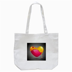 Valentine Heart Having Transparency Effect Pink Yellow Tote Bag (white)