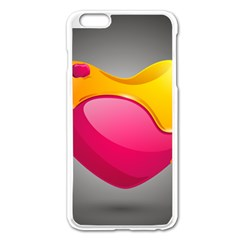 Valentine Heart Having Transparency Effect Pink Yellow Apple Iphone 6 Plus/6s Plus Enamel White Case