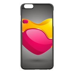 Valentine Heart Having Transparency Effect Pink Yellow Apple Iphone 6 Plus/6s Plus Black Enamel Case