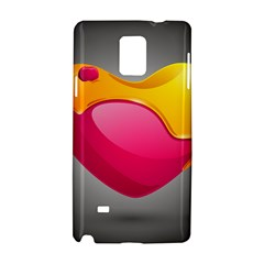 Valentine Heart Having Transparency Effect Pink Yellow Samsung Galaxy Note 4 Hardshell Case