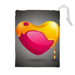 Valentine Heart Having Transparency Effect Pink Yellow Drawstring Pouches (extra Large)