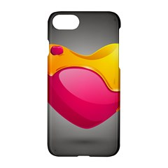 Valentine Heart Having Transparency Effect Pink Yellow Apple Iphone 7 Hardshell Case
