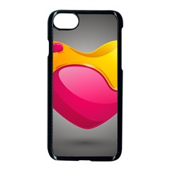 Valentine Heart Having Transparency Effect Pink Yellow Apple Iphone 7 Seamless Case (black)