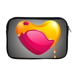 Valentine Heart Having Transparency Effect Pink Yellow Apple Macbook Pro 17  Zipper Case