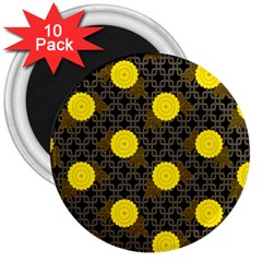 Sunflower Yellow 3  Magnets (10 Pack)