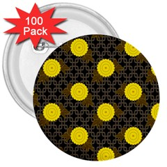 Sunflower Yellow 3  Buttons (100 Pack)