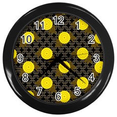 Sunflower Yellow Wall Clocks (black)