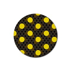 Sunflower Yellow Rubber Round Coaster (4 Pack)
