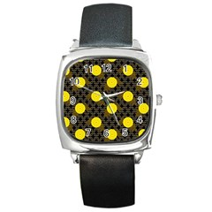 Sunflower Yellow Square Metal Watch