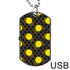 Sunflower Yellow Dog Tag Usb Flash (one Side)