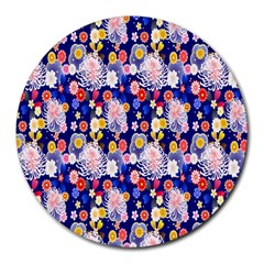 Season Flower Arrangements Purple Round Mousepads
