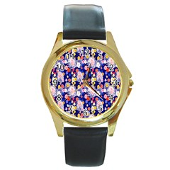 Season Flower Arrangements Purple Round Gold Metal Watch