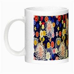 Season Flower Arrangements Purple Night Luminous Mugs