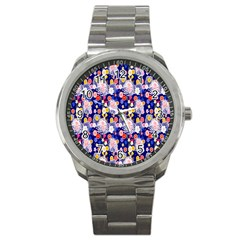 Season Flower Arrangements Purple Sport Metal Watch