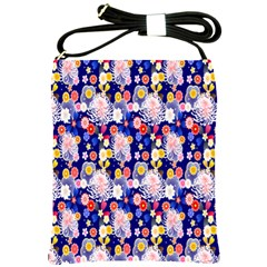 Season Flower Arrangements Purple Shoulder Sling Bags by Alisyart