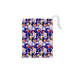 Season Flower Arrangements Purple Drawstring Pouches (xs)