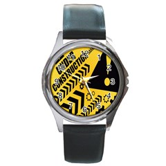 Under Construction Line Maintenen Progres Yellow Sign Round Metal Watch