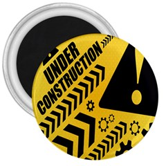 Under Construction Line Maintenen Progres Yellow Sign 3  Magnets