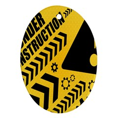 Under Construction Line Maintenen Progres Yellow Sign Ornament (oval)