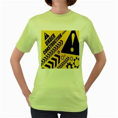 Under Construction Line Maintenen Progres Yellow Sign Women s Green T Shirt